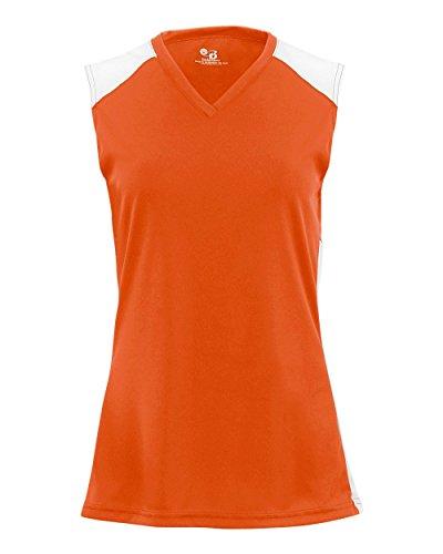 Ladies Burnt Orange/White XL Performance Sports Sleeveless V-Neck 2-Color Wicking Jersey ()