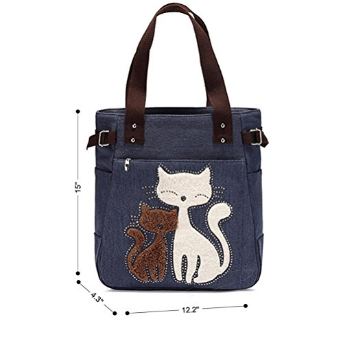 Shoulder en toile Sacs toile Sac main Femmes Women Cat Blue Cute en Vbiger à Honeymall wXIxqOgaa