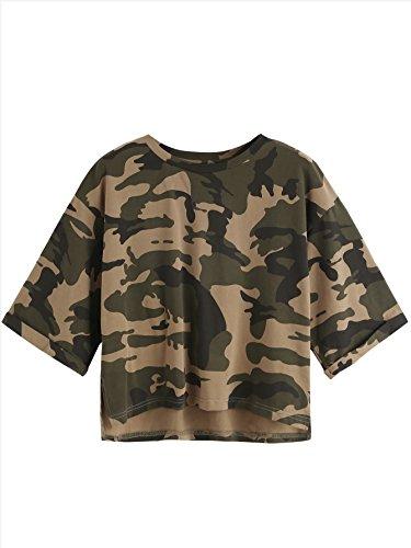 SweatyRocks Women's Summer Casual Crop Tops High Low Half Sleeve T-Shirt Camo S