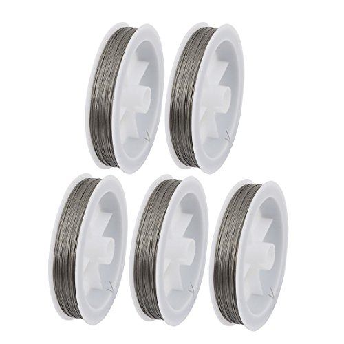 uxcell 5pcs 0.38mm Diameter 100 Meters Long Steel Wire Light Accessory for Crystal Bead