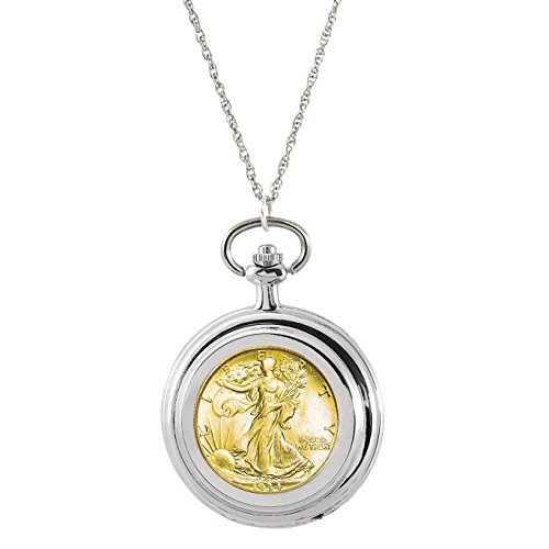 American Coin Treasures Gold-Layered Silver Walking Liberty Half Dollar Coin Pocket Watch Coin Pendant Necklace Solid Pocket Watch