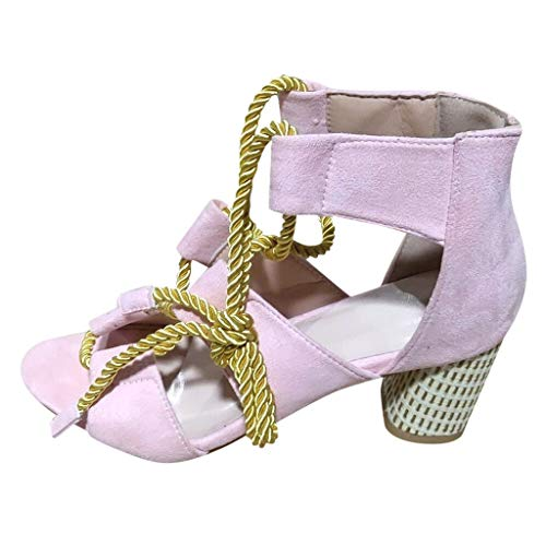 2019 Summer JJLIKER Fashion Suede Colorblock Gladiator Sandals Ankle Tie Strap Open Toe Block High Heel Pumps for Women
