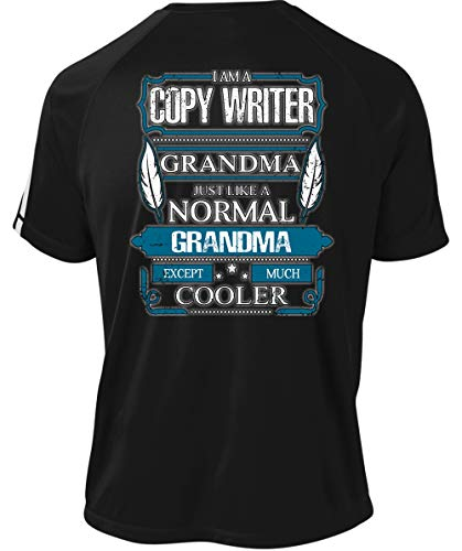 Just Like A Normal Grandma Dry Zone Crew, I Am A Copy Writer Grandma T Shirt-Colorblock Crew (L, Black)