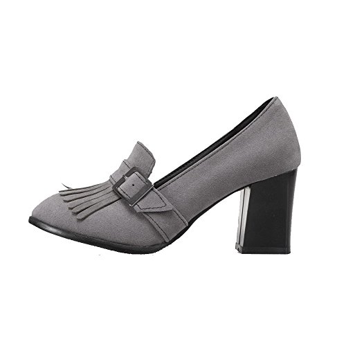 VogueZone009 Women's Frosted Pull-On Round-Toe High-Heels Fringed Pumps-Shoes Gray kyKcZTohf