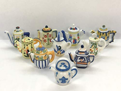 (Quimper Faience TEAPOT Set 10pcs Breton Style Pottery Dishes - French Feve Feves Doll House Miniatures)
