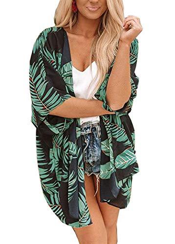 Women's Floral Kimono Cardigan Summer Loose Shawl Chiffon Beach Blouse Cover up X-Large Deep Green