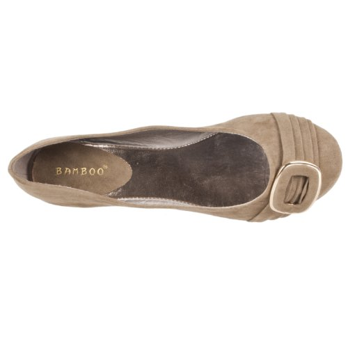 Microsuede Buckle detail Bamboo Womens Sami Taupe Ballet Flats EnqSI4