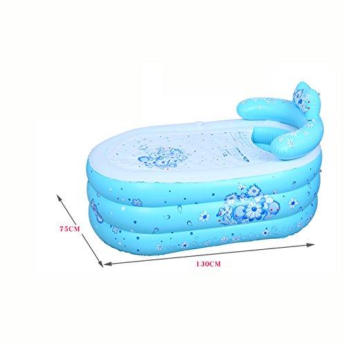 ASL Gonfiabile Vasca ispessimento plastica Fold semplice domestica per adulti Bagno Bath vasche da bagno vasca da bagno barile Nuovo ( colore   Blu , dimensioni   75130CM )