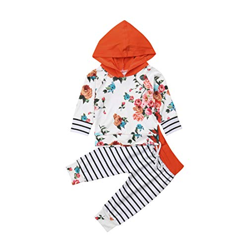 Infant Baby Kids Floral Hoodies Striped Pants Orange Cap Clothes Outfit Set,Cotton Top Sweater Outwear