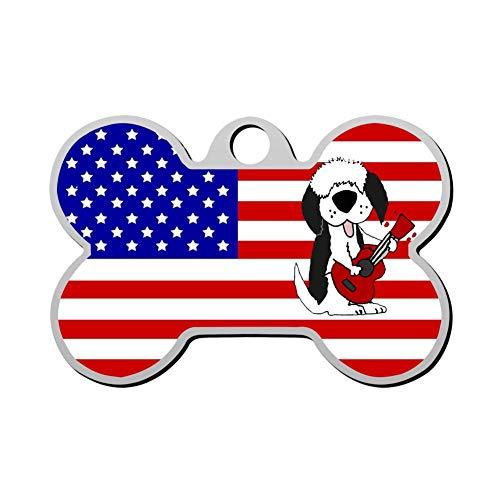 Kafne Cute Old English Sheepdog Playing Guitar Cartoon Personalized pet ID tag cat tag and Dog tag - Bone Shaped Identification tag (Sheepdog Address Labels)