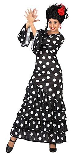 Atosa 28602 - Flamenco, negro, señoras traje, tamaño 38/40, negro/blanco