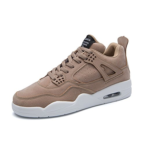 KRIMUS Men's Lightweight Sneakers Air Cushion Athletic Breathable Walking Shoes,Light Brown,10D (M)US/EU 44