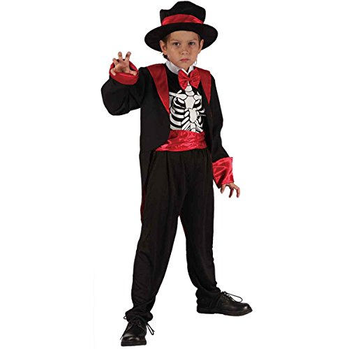 Momo&Ayat Fashions Halloween Kids Boys Smart Skeleton Costume Age 4-12 Years (Small (Age 4-6 Years), Black) -