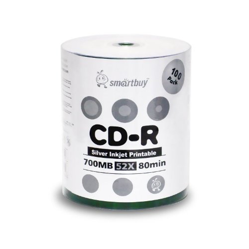 Smart Buy CD-R 100 Pack 700mb 52x Printable Silver Inkjet Blank Recordable Discs, 100 Disc, 100pk