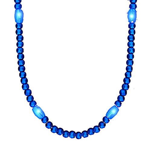 Flashing Light Up LED Bead Necklace - Available in 4 AMAZING, BRIGHT colors! (Blue) Get yours now for Mardi Gras! ()