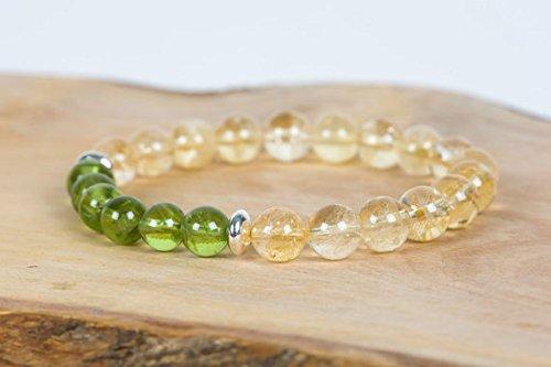 Citrine Gemstone Bracelet, Peridot Bracelet, Stacking Stretch Bracelet, Gemstone Bracelet, Handmade Jewelry, Gemstone Jewelry 8mm