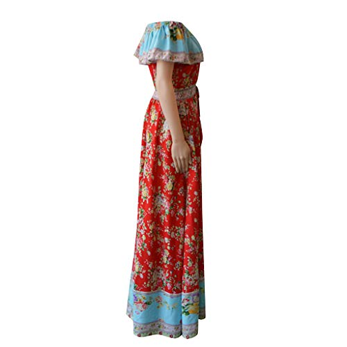Women Dresses For Special Occasions Sexy Cocktail,Women's Summer Bohemian Printed Waist V-Collar Chiffon Beach Long Dresses by SUNSEE WOMEN'S CLOTHES PROMOTION (Image #6)