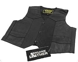 Unisex kids/Toddlers Genuine soft Leather Outerwear Biker Vest_Large