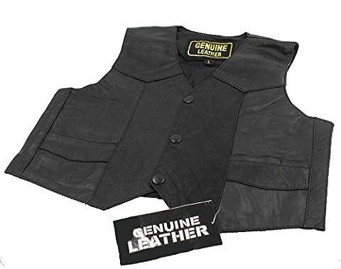Unisex kids/Toddlers Genuine soft Leather Outerwear Biker Vest_X Large - Unisex Black Leather