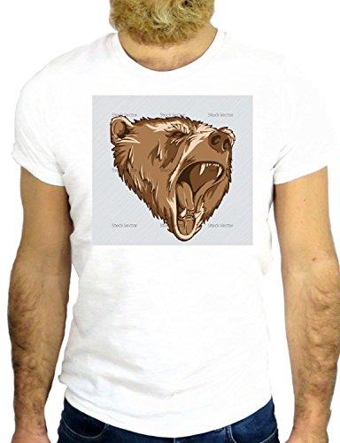 T SHIRT Z0132 BEAR AGGRESSIVE BITE WILD NICE COOL USA ALASKA CANADA GGG24 BIANCA - WHITE S