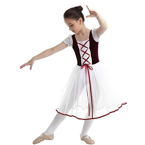 YONGHS Kids Girls Gymnastic Ballet Dance Tutu Dress Velvet Mesh Lacework Short Bubble Sleeves Leotard Fancy Costume Burgundy 10-12