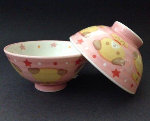 2 Pieces of Japanese 4'' Diameter Porcelain Pink Kawaii Dog Children Rice Bowls
