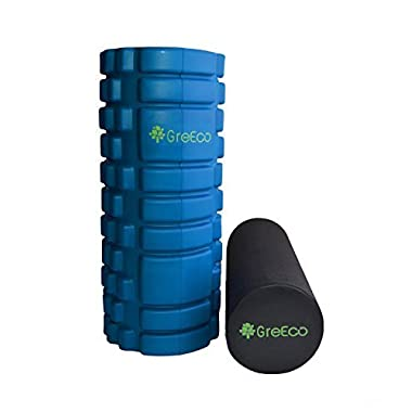 GreEco Combo Revolutionary Foam Roller, High Density Extra Firm & Soft For for Deep Tissue Muscle Massage Set of 2, Blue