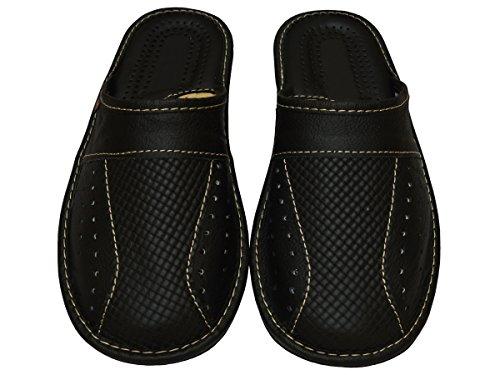 Negro 47 Cuero Grandes Size Hombres de Zapatillas 50 Big Mz02 49 amp; para 48 Tamaños Fieltro Pantuflas USqanP
