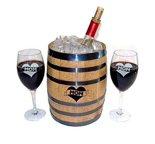Ice Bucket with Matching Wine Glasses and Coasters Gift Set ()