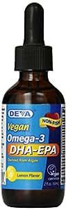 Deva Nutrition Vegan Liquid DHA EPA Herbal Supplement, Lemon Flavor, 2 Ounce