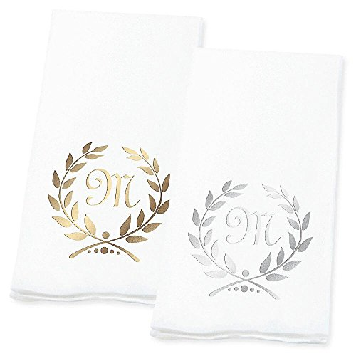 (Lillian Vernon Wreath Personalized Monogram Linen-Like Hand Towels (Set of 100)- 50% Cotton 50% Paper Blend, 13