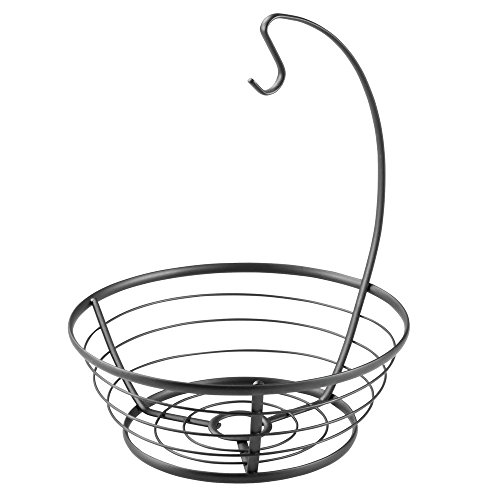 InterDesign Axis Fruit Tree Bowl with Banana Hanger for Kitchen Countertops - Matte Black (Banana Fruit Tree Basket)