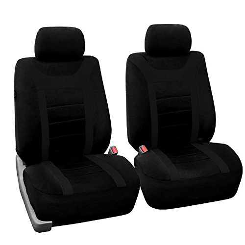 FH Group FB070102 Sports Fabric Car Seat Covers Pair Set Airbag Compatible Gray Black Fit Most Truck Suv Or Van