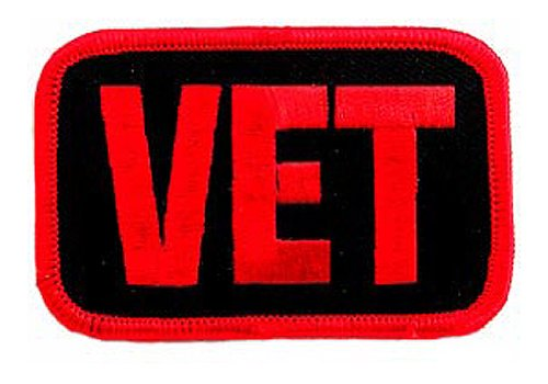Vet Patch Red Embroidered Military Veteran Iron-on Emblem - Military Vet Patch