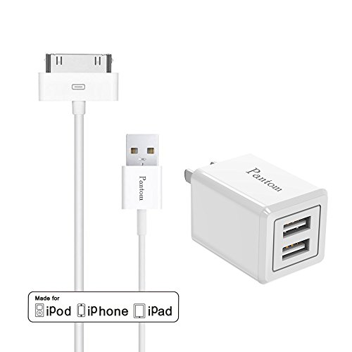 Foldable Wall charger and iPhone 4s cable, Pantom 2.1A Foldable Wall Plug Charger with 1.2 Meter 30-pin Data Sync/Charge cable iPhone4/4s, iPhone 3G/3GS, iPad 1/2/3 and iPod (Ipod Touch 3rd Generation Small)