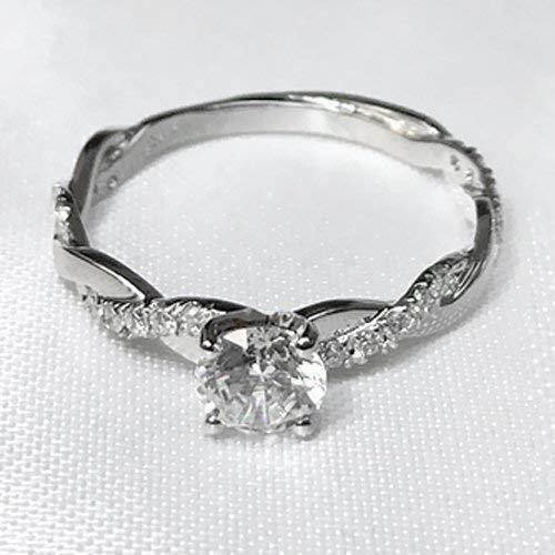 Round Cut Moissanite Engagement Ring 14k White Gold Palladium Platinum Twist Shank Handmade Diamond Ring Anniversary Ring Forever One