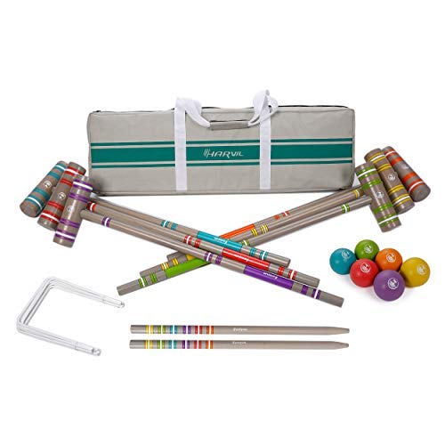 Harvil 6-Player Croquet Set for All Ages with Mallets, Balls, Stake Posts, Wickets, and Carrying Case - Light ()