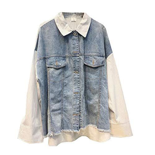 JIAKENVDE Vintage Jeans Mäntel Frauen Herbst Langarm Spleißen Mantel Revers Einreiher Frauen Denim Mantel Lose Plus Größe Kleidung