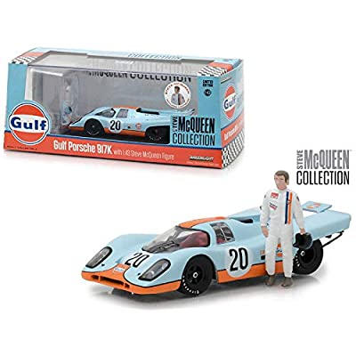 Greenlight 1: 43 Steve McQueen Collection - Gulf Porsche 917K with Steve McQueen Figure: Toys & Games