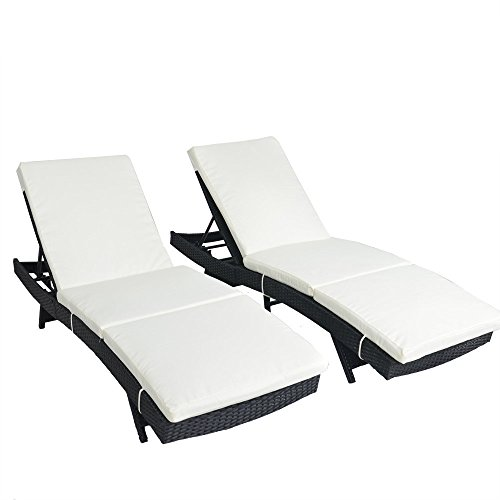 Outime Lounge Chair Patio Chaise Lounger Black Rattan Deck Chair Adjustable Cushioned Pool Side  ...