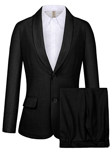 CMDC Women's 2 PC Business Casual Shawl Collar Formal Blazer Suit Pants Sets MI35 (Black, 6) by CMDC