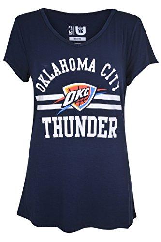 Unk Nba Nba Womens Oklahoma City Thunder T Shirt V Neck Relaxed Fit Short Sleeve Tee Shirt  Medium  Blue