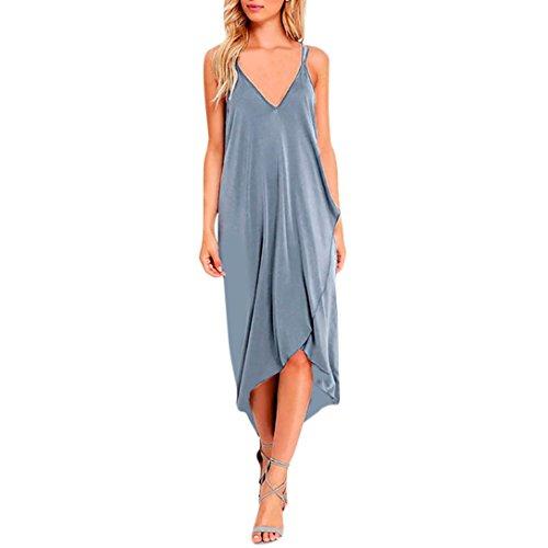 Kimloog Women's deep V-Neck Sleeveless Halter high Low Irregular Maxi Dress Split Front Beach Sundress (M, Gray) by Kimloog