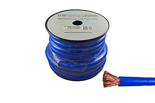 - 0 Gauge 50 Feet Wire 1/0 AWG High Performance Flexible Amp Power Ground Cable (Blue)