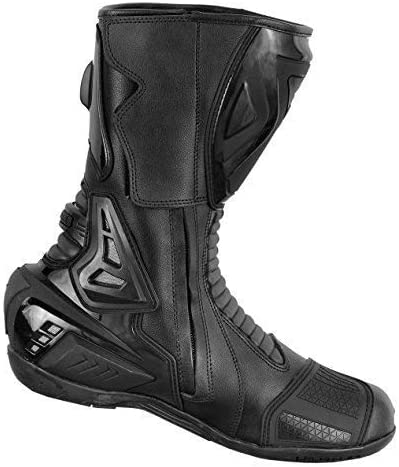 PROFIRST Pure Leather Motorbike Boots Motorcycle Armoured Long High Ankle Shoes Crash Protection Protective Comfortable Racing UK 10 EU 44 White /& Black