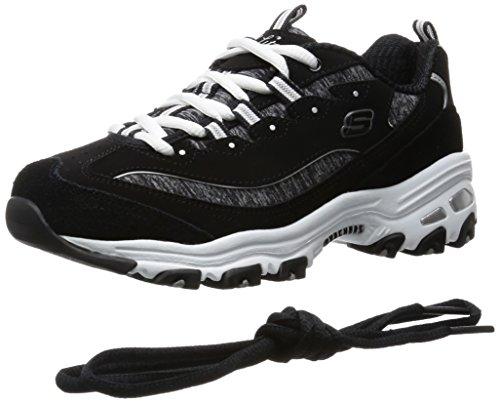 Skechers Sport Women's D'Lites Memory Foam Lace-up Sneaker,Me Time Black/White,6 W US