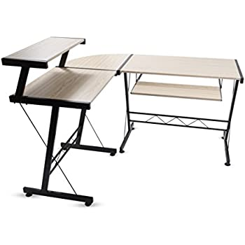 Awesome Modern Durable L Shape Computer Desk Workstation Great For Office Home Office Dorm Room Natural Birch Color With Black Frame Download Free Architecture Designs Scobabritishbridgeorg