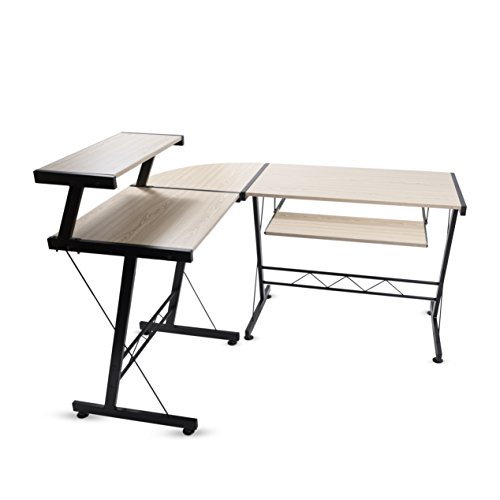 (Modern Durable L Shape Computer Desk Workstation Great for Office , Home Office , Dorm Room , Natural Birch Color with Black)