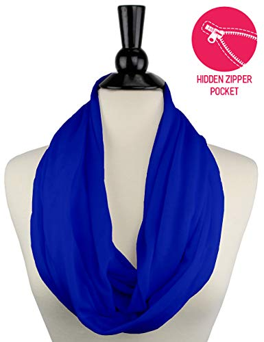 - Royal Blue Infinity Scarf Womens Fashion Scarf Zipper Pocket, blue scarf, travel scarf - Pop Fashion