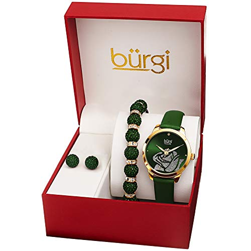 Burgi Watch, Bracelet & Earrings Gift Set - Accented Rose Cut-Out Women's Watch with Diamond Marker and Crystal Beaded Matching Bracelet and Earrings - BUR244GN (Green)